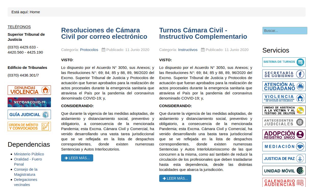Sitio web jusformosa.gob.ar